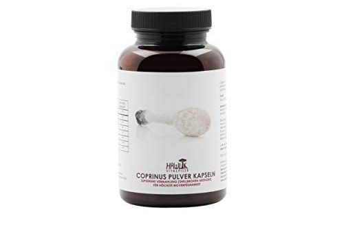 Hawlik Vitalpilze - Coprinus Pulver - 120 Kapseln - 420 mg Pilz Pulver - GMP Qualität - Shellbroken Verfahren